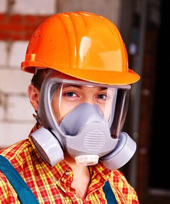 man wearing a respirator mask